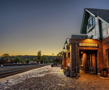 Historic Flagstaff railway station at sunset