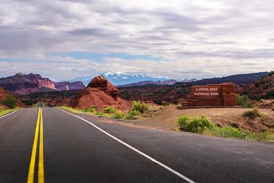 Entrance sign of Capitol Reef National park, Utah