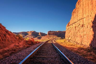 Railroad tracks near Corona Arch Trail in Utah