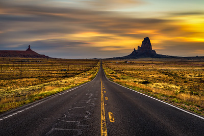 Sunrise over road to Monument Valley, Utah, USA