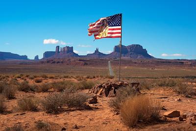 Navajo - American flag in Monument Valley, Utah