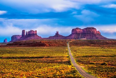 Desert road leading to Monument Valley in Navajo Nation Reservation
