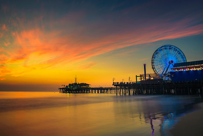 Sunset above Santa Monica Pier in Los Angeles