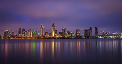 Night skyline of San Diego downtown, California