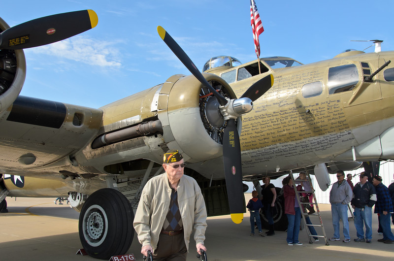 B17 bomber; WWII Veteran, David T. Hansen. One of the only planes still flying from WWII. Wings of Freedom tour sponsored by Collings Foundation.