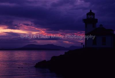 Lime Kiln Lighthouse at Sunset, San Juan Islands, Haro Strait, Washington