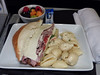 20140319 777-200 DFW-ICN Roast Beef with Provolone sandwich served in pretzel bread, with creamy basil potato salad