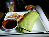 20140829 1330 HKG-DFW  Char Siu chicken wrap with noodle salad served with hoisin sauce