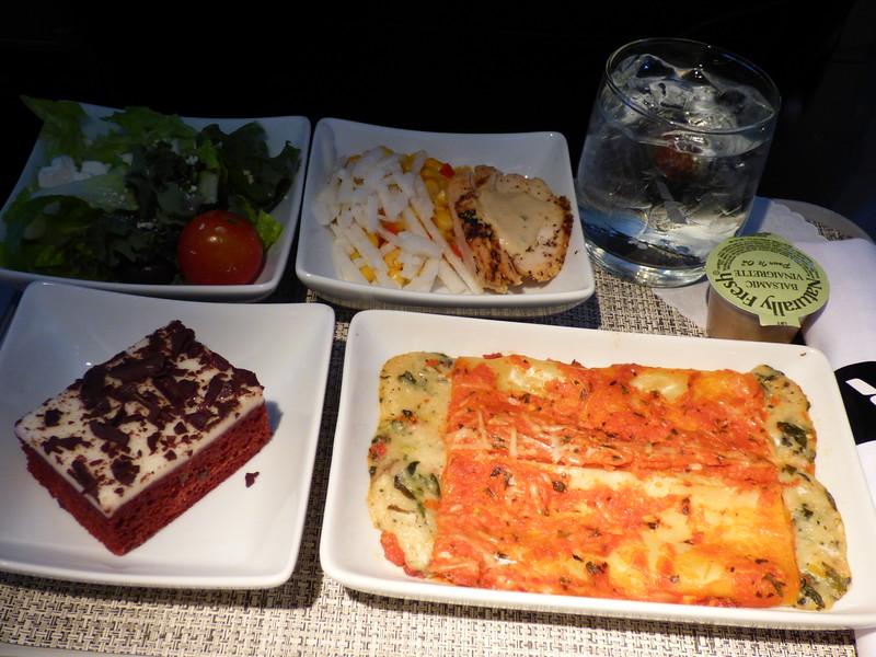 20150113 1320 SFO-DFW Vegetable Manicotti With a Tomato Cream Sauce
