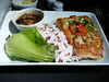 20140829 1330 HKG-DFW  sea bass with ginger mushroom sauce, red Thai rice and bok choy