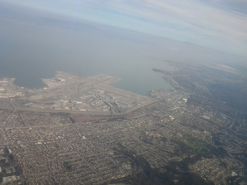 20131106 1320 departure from SFO, en route to LAX, view of airport and San Francisco Bay