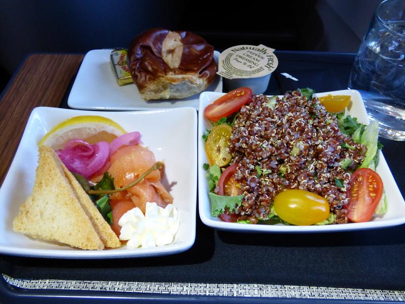 20150219 1530 JFK-SFO seasonal greens with red quinoa and tabbouleh