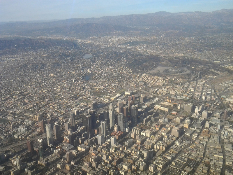 20131106 flying over downtown LA into LAX (flight originated at SFO)