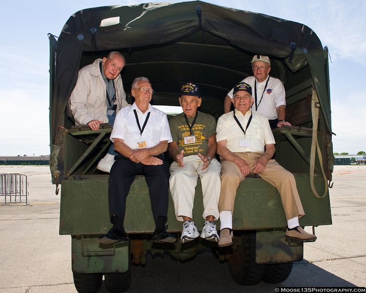 Members of the 297th Combat Engineer Battalion at the American Airpower Museum to mark the anniversary of D-Day. The unit landed in Normandy on June 6, 1944.  <br /> (L-R) Barney Reynolds, Joseph Rufo, Cye Cynamon, Andy Ranaudo, Thomas E. Todd,