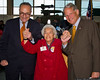Josephine Raichele, who helped build P-47 fighters during World War II in what is now the museum hangar, with Senator Schumer and Congressman Israel.