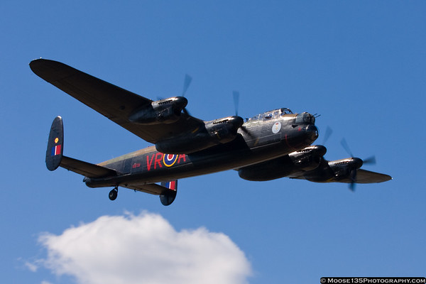 Lancaster bomber from the Canadian Warplane Heritage Museum arrives at Republic Airport.