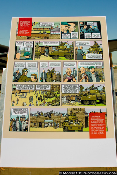 Comic book cell depicting the liberation of Mauthausen concentration camp by U.S. soldiers