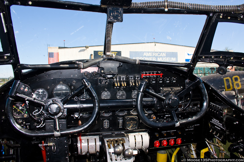 The front office of the Lancaster. It was a designed and operated as a single-pilot aircraft during WWII, however, for civilian certification, they added a second set of controls and seat.