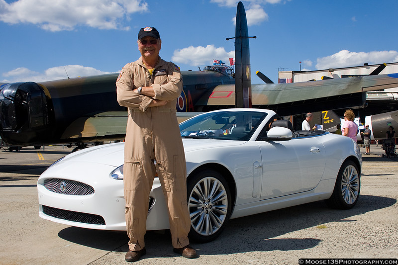 AAM pilot Dan Dameo with a Jaguar from one of the weekend's sponsors.