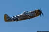 Dan Dameo takes the museum's P-47 for a trip around the pattern.