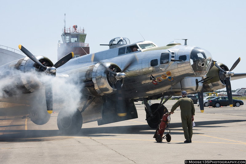 B-17 Flying Fortress prepares to depart for New York harbor.