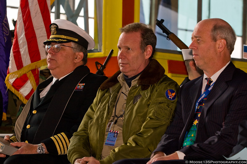 US Navy Reserve Chaplin, Captain Ronald Klose, American Airpower Museum Assistant Manager Larry Starr and Republic Airport Director Michael Geiger