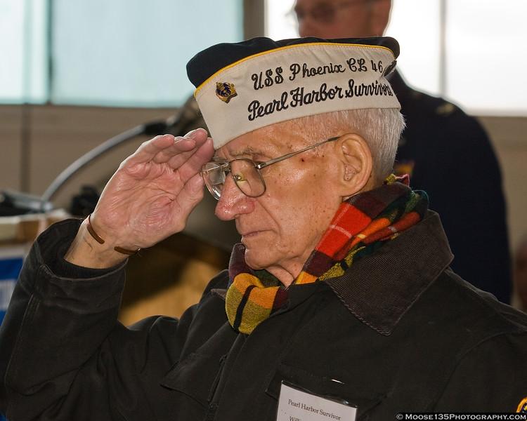 William Halleron salutes during the National Anthem.