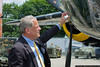 Congressman Steve Israel examines the museum's B-25 Mitchell Bomber.