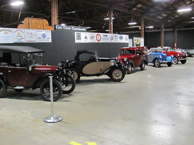 From left to right, 1926 Austin Seven Chummy, 1931 American Austin roadster, 1939 American Bantam panel truck, 1939 American Bantam roadster and a 1940 American Bantam Riviera