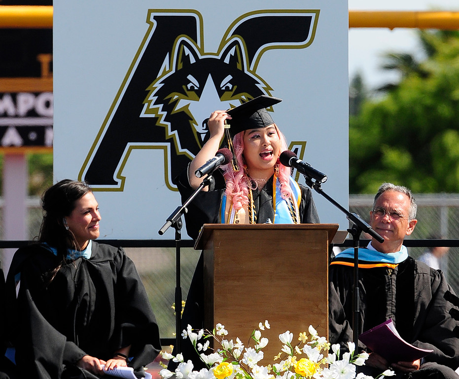 . AMERICAN CANYON, CA - JUNE 6, Student body secretary, Isabella Aquino delvers a speech during graduation at American Canyon High School on Wednesday. (CHRIS RILEY/TIMES-HERALD)