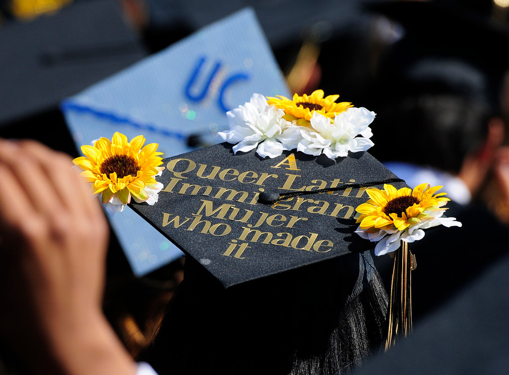 . AMERICAN CANYON, CA - JUNE 6, A graduate makes a statement with her cap during graduation at American Canyon High School on Wednesday. (CHRIS RILEY/TIMES-HERALD)