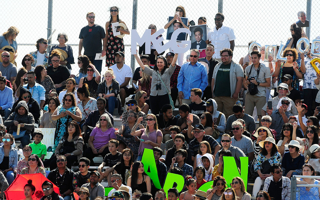 . AMERICAN CANYON, CA - JUNE 6, Friends and family cheer for their graduates during graduation at American Canyon High School on Wednesday. (CHRIS RILEY/TIMES-HERALD)