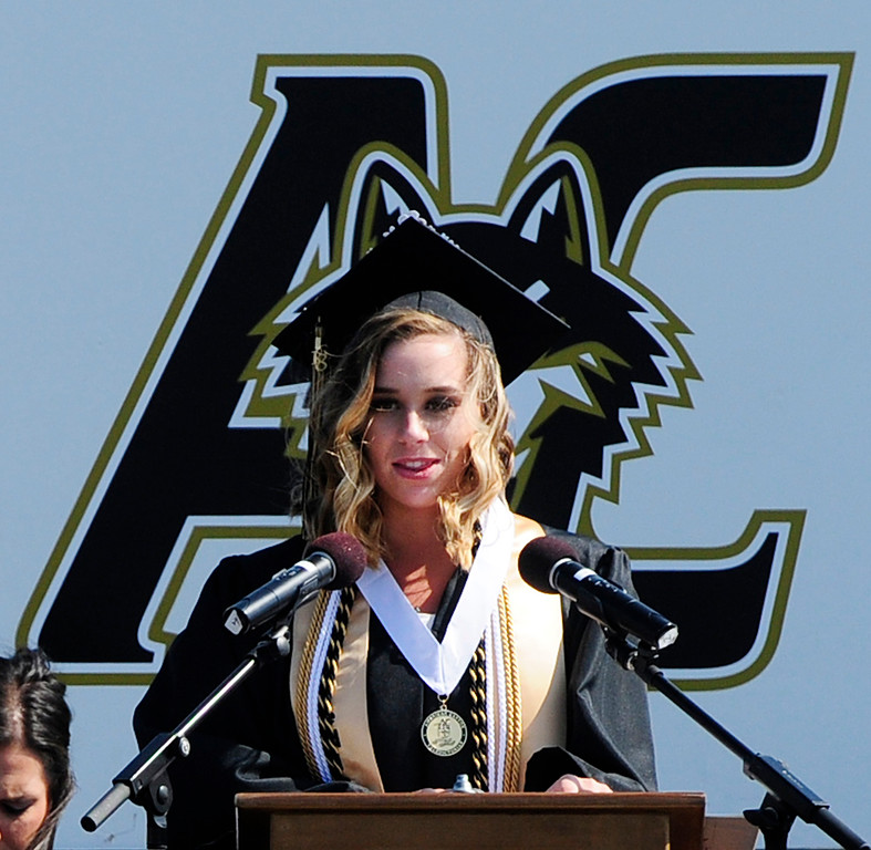 . AMERICAN CANYON, CA - JUNE 6, Emily Margolati, one of 22 valedictorians, delivers a speech during graduation at American Canyon High School on Wednesday. (CHRIS RILEY/TIMES-HERALD)