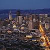 San Francisco skyline from Twin Peaks at dusk,<br /> San Francisco, California