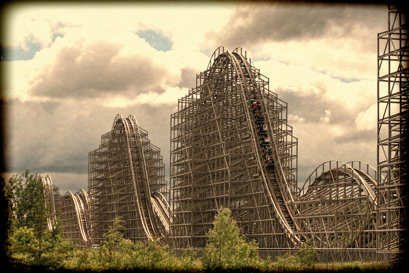 "MG_2140 ""Shivering Timbers"" at Michigan's Adventure (Muskegon Township, MI).  Since the clouds had blown highlights, I used a filter from Topaz Adjust 5 to give it a retro look."