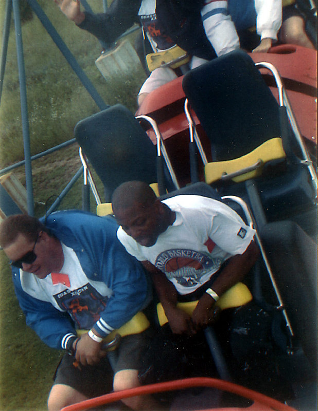 Superman - Ride of Steel, Six Flags America: Fleming Cook and I riding this Intamin hyper... whee!
