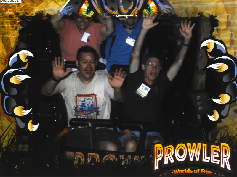 Riding Prowler, my 250th roller coaster, with Mac during ERT.  Taken on 6/24/2009.