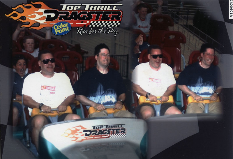 Top Thrill Dragster, Cedar Point: This was taken during my second ride of TTD; they didn't have the cameras running on my first ride. The first time I rode TTD, I took the first available seat, because I was worried the ride would break down again. For this second picture, I was in the front seat, and I could see the radar gun display our speed. Believe it or not, on this launch it reported 125mph, which is faster than all the other launches I saw (most were fairly consistently 120-121 mph). Not that I could tell the difference...