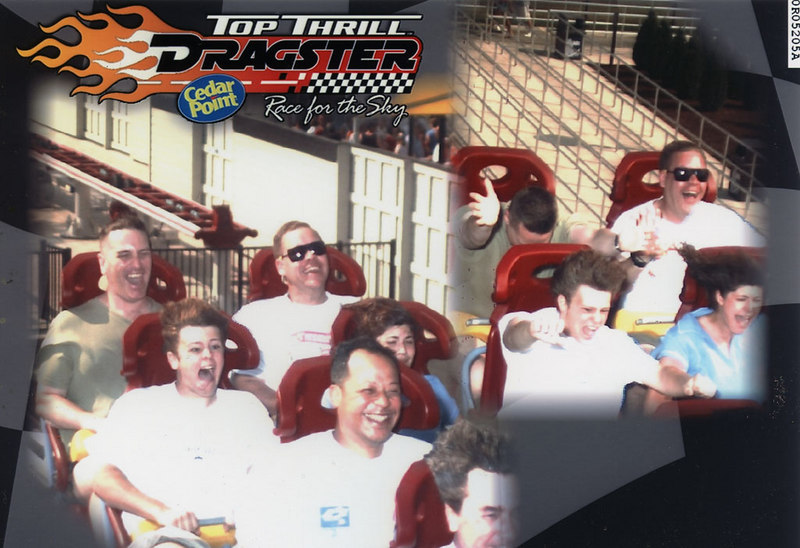 Top Thrill Dragster, Cedar Point: This was taken on my third ride, and I am sitting next to Will. This time I am riding in the back seat.
