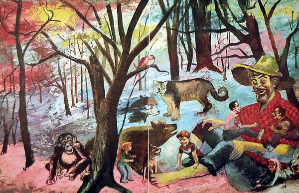 Inside front cover of American Folklore Book,  Illustration by Irv Docktor, Ben Botkin and Carl Withers, The Illustrated Book of American Folklore (Grosset & Dunlap, 1958)