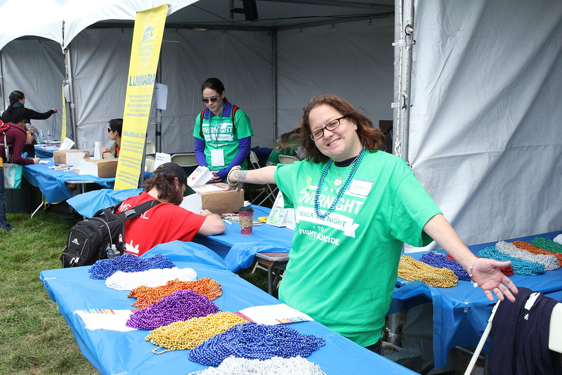 Honor Beads and our wonderful volunteer.-Photo by David Shaffer
