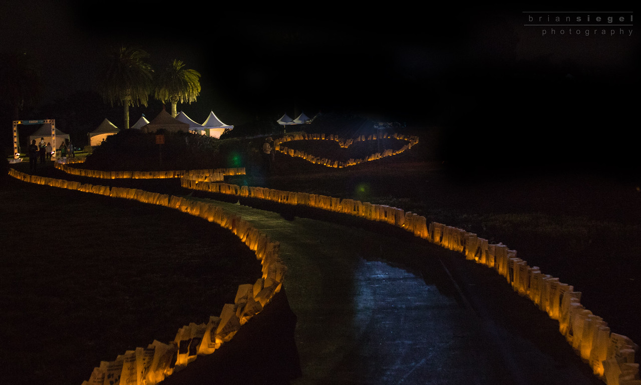 Luminaria Bags Lit up as we finish the walk!