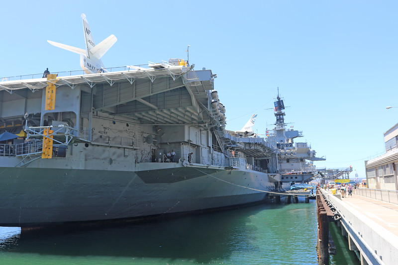 USS Midway along the route