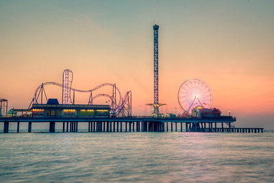 Fairground lights at Sunrise