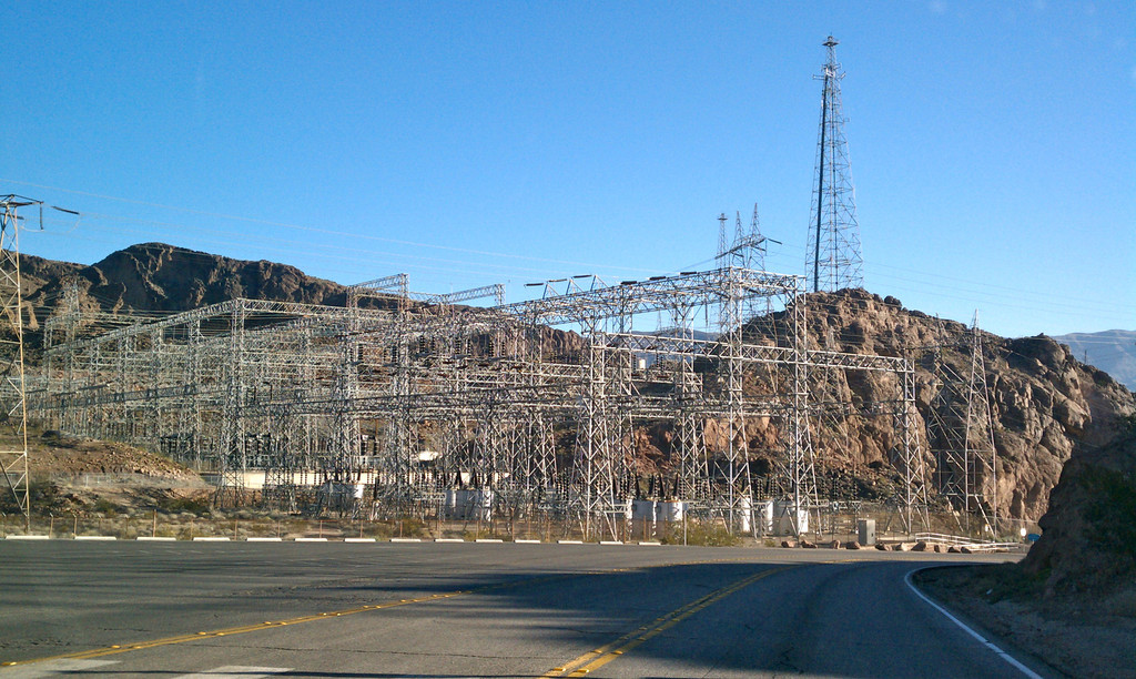 As you drive in to the Hoover Dam, you see all the power facilities.