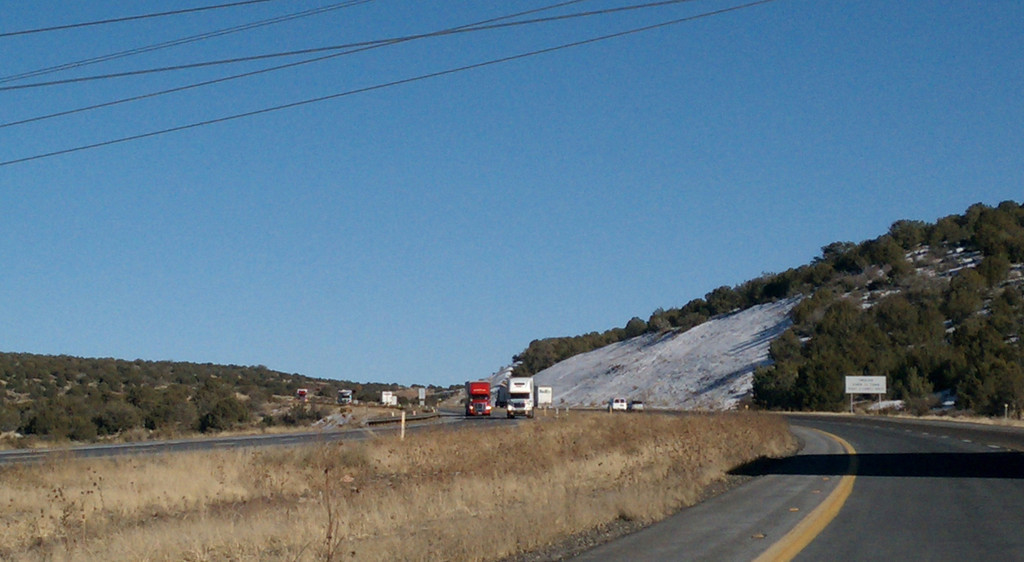 Snow along Route 66 in Arizona in January on the way to the Grand Canyon.