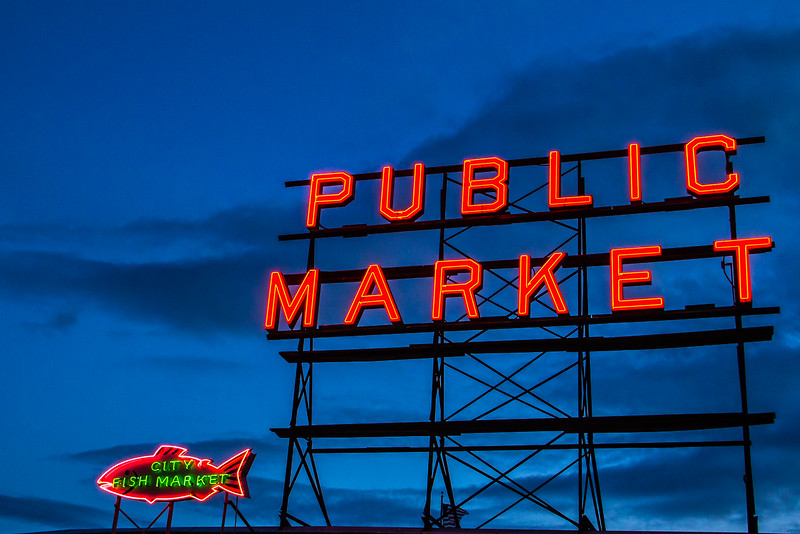 Pike Place Market Sign Seattle Washington
