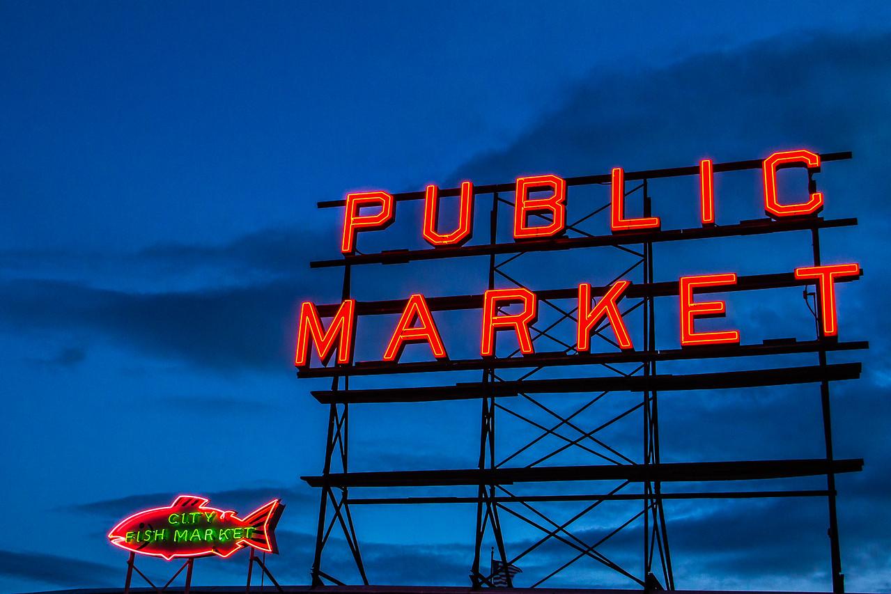 Pike Place Market Sign Seattle Washington