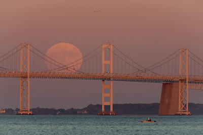 Supermoon Over the Chesapeake Bay Bridge 2016