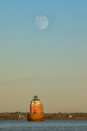 Supermoon Over Sandy Point Lighthouse 2016